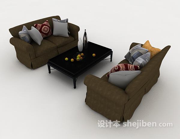 木质深绿色组合沙发