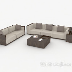 新中式沙发茶几3d模型下载