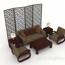 中式木质组合沙发3d模型下载