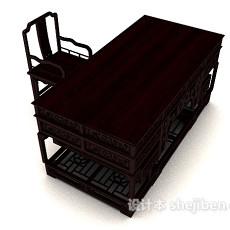 中式雕花书桌椅3d模型下载