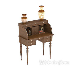 中式木质复古书桌3d模型下载