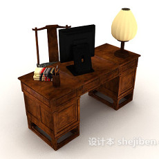 中式复古书桌3d模型下载