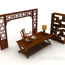 中式复古书桌椅柜3d模型下载