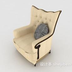 欧式简约单人沙发3d模型下载