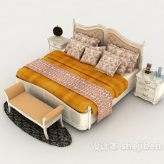欧式虎纹白色双人床3d模型下载