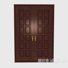 会议厅实木大门3d模型下载