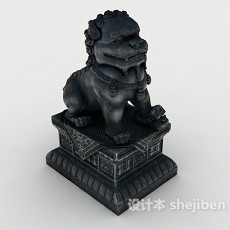 中式狮子雕塑3d模型下载