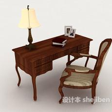 中式复古木质书桌椅子3d模型下载