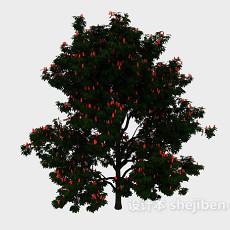 红色果实大树3d模型下载