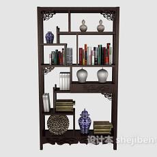 中式木质书柜3d模型下载