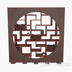 实木中式书柜3d模型下载