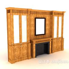 欧式家居背景墙3d模型下载