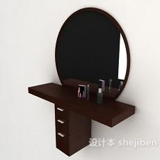 现代简约木质梳妆台3d模型下载