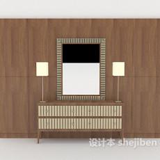 新中式背景墙3d模型下载