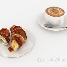 牛角包和咖啡3d模型下载