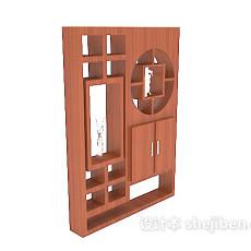 新中式简单书柜3d模型下载