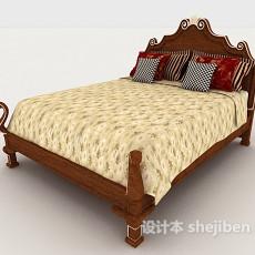 精致欧式家居床3d模型下载