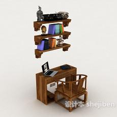 新中式书桌椅3d模型下载