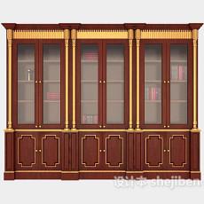 中式复古大书柜3d模型下载