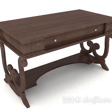 中式木书桌3d模型下载