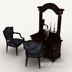新中式梳妆桌椅3d模型下载