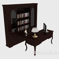 中式简约木质书柜3d模型下载