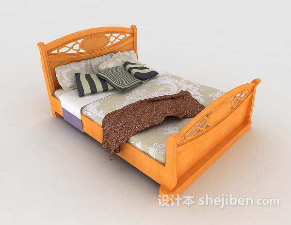 黄色木质双人床