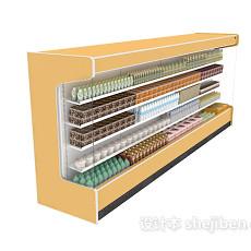 超市饮品展柜3d模型下载