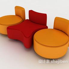 现代彩色沙发凳3d模型下载