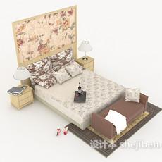 欧式简约床3d模型下载