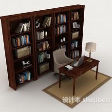 现代居家型书柜3d模型下载