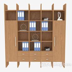 简单实木书柜3d模型下载