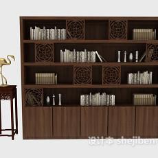 中式古风书柜3d模型下载