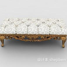 欧式复古沙发凳3d模型下载