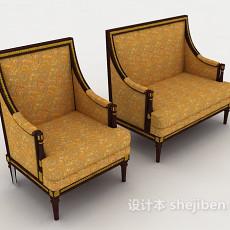 金色欧式沙发凳3d模型下载