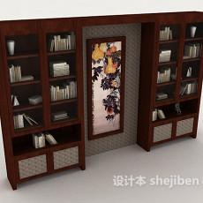 中式风格木质书柜3d模型下载