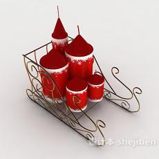 欧式圣诞蜡烛3d模型下载