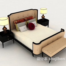 简单欧式床具3d模型下载