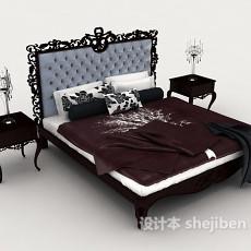 欧式木质雕花双人床3d模型下载