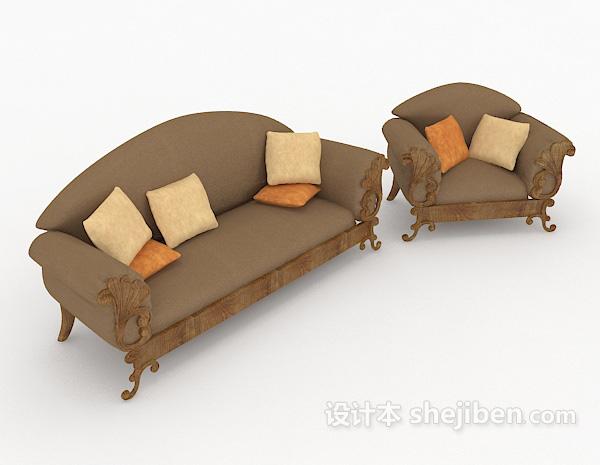 欧式棕色沙发凳