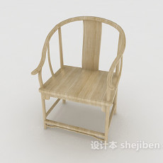 中式简约单人椅3d模型下载