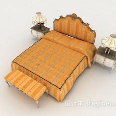 黄色欧式床3d模型下载