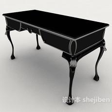 新中式黑色书桌3d模型下载
