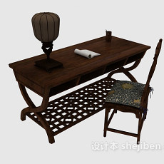 复古中式书桌3d模型下载