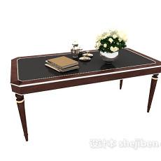 新中式复古木质书桌3d模型下载