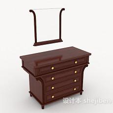 简约木质梳妆台3d模型下载