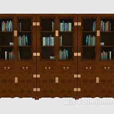 中式木质大书柜3d模型下载