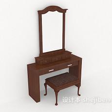 新中式木质梳妆桌3d模型下载