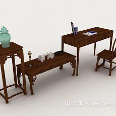 中式简约木质书桌椅3d模型下载