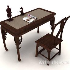 中式木质书桌椅3d模型下载